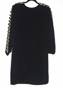 Black LBD Criss Cross Cutout Long Sleeve Sheath Dress Size 20