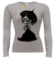 Victoriano Niña Camiseta Manga Larga Mujer Steampunk Gótico para Dama Alicia Emo