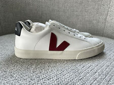 VEJA Women's Esplar Low Top Sneakers, White Leather With Marsala/Black Trim. US5