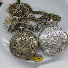 Retro Bronze Dr. Who Muster-Taschen-Uhr-Halsketten-Ketten-Anhänger-Geschenk