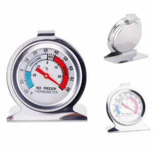 Fridge Freezer Thermometer Shatterproof Stainless Steel Accurate Stand Hang Case