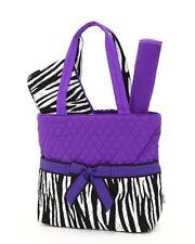 Belvah quilted zebra monogrammable 3pc baby diaper bag ZBQ1103(PP) BS1000