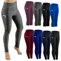 Womens Sports Yoga Leggings High Waist Workout Gym Fitness Pants Pocket Capri