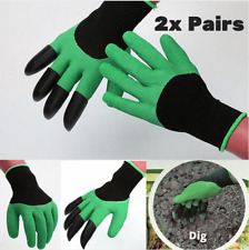 2 x pairs Genie Garden Gloves Unisex Gardening Built in 4 Claws Digging