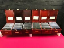 More details for 72 x prestige specimen coin sets euro cents in cases with wooden boxes rare set