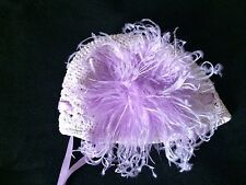 NEW Lynda Hats Baby Girls Lilac Feather Crochet Beanie Hat Size 0 3 6 12 Months