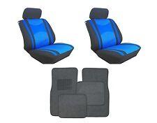 Mesh Blue & Black Seat Covers W/ Charcoal Carpet floor Mats for Cars SUVS-Combo