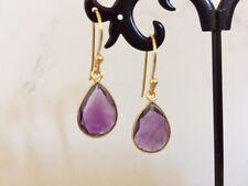 18K Gold on Sterling Silver Amethyst Teardrop Dangle Earrings Gemstones Tear