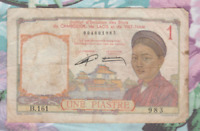 "French Indo-China 1 Piastre 1953 ND P 92 Sign 15 Birth Year ""1983"" !^"