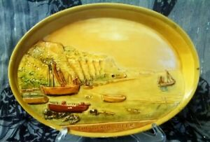 Small Oval Chalk Picture The Beach Beer S. Devon Signed          d*