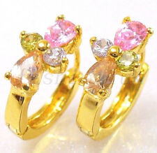 fashion1uk Simulated Diamond Flower 24K Gold Plated Small Huggie Hoop Earrings