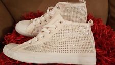 Brand New: Women White Crystal Sneaker Boots Size 5