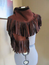 New Burberry London Brown Shearling Suede Fringe Scarf