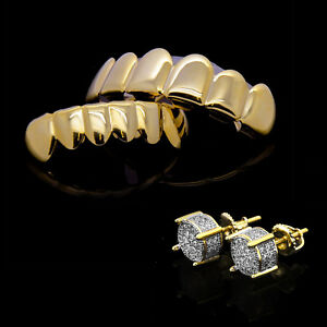 14k Gold Plated Two Tone Cz Micropave Earring Stud Round w/ Grillz Set