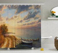 Art Shower Curtain Romantic Sunrise by Sea Print for Bathroom 70 Inches Long