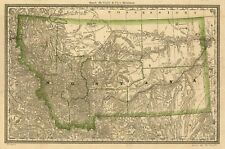 Montana City Map Antique North America Wall Maps | eBay