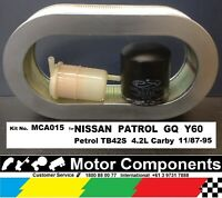 FILTER Service KIT for PATROL GQ Y60 Petrol TB42S CARBY 11/1987-95 Oil Fuel Air