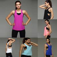 Sexy Women Sleeveless Sport Gym Vest Tank Backless Tops Loose Blouse T-shirt New