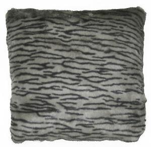 Fi860a Dark Grey Pale Grey Tiger Faux Fur Cushion Cover/Pillow Case Custom Size