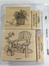 Stampin Up PEACE WITHIN wm Stamp Set CAT Birds Flowers Bench Chair Basket