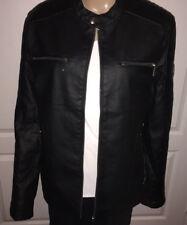 New Men's Black PU Leather Jacket EK78 ABP-9753 Navy Size L