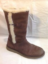 John Lewis Brown Mid Calf Leather Boots Size 6