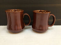 Vintage Pottery Brown Mug Stoneware Coffee Tea Cup Set of 2
