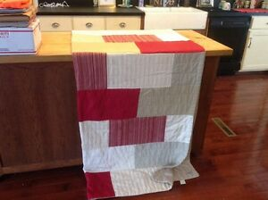 Woolrich Red Tan Grey Light Cotton Double Sized Block Quilt