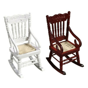 1:12 Pocket Miniature Furniture Wooden Rocking Chair Suitable For Doll House