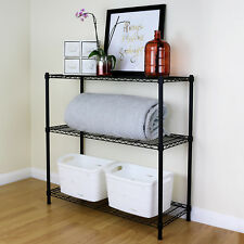 3 Tier Black Metal Storage Rack/Shelving Wire Shelf Kitchen/Office Unit 90cm
