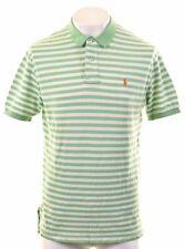 POLO RALPH LAUREN Mens Polo Shirt Large Green Striped Cotton  DX06
