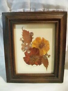 Vintage Handcrafted Floral Framed Picture Signed by Shirley G