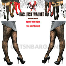 Spider Web Black Tights Gothic Costume Accessory Halloween Ladies Rebel Legs