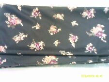 LIGHTWEIGHT SYNTHETIC JERSEY POLYESTER FABRIC Chocolate Brown FLORAL One+ Yard