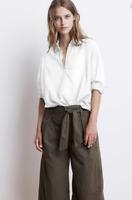 VELVET By Graham & Spencer Cheryl L/S Cotton Popover Shirt Blouse Top S $128 B5