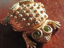 Frog Design With Crystal Eyes Adorable Vintage Pill Box In