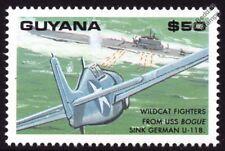 WWII Grumman WILDCAT Aircraft (USS Bogue) Sinks U-Boat U-118 Submarine Stamp