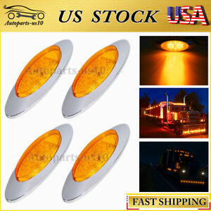 "4x Amber 6.5"" For Freightliner Mack Lorry LED Side Marker Truck Clearance Lights"