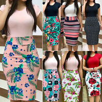 Plus Size Ladies Short Sleeve Floral Boho Women Party Bodycon Slim Midi Dress US
