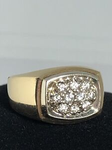 GG Certified14K Yellow Gold Men's Diamond Cluster Signet Ring Size 10.25 9.2g