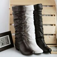 Ladies Womens Knee High Boots Causal Low Heel Shoes Riding Biker Long Boots Size