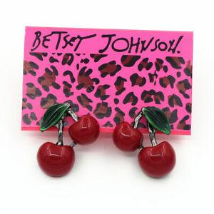 Women's Enamel Red Resin Cherry Ear Stud Betsey Johnson Earrings Sweet Gift