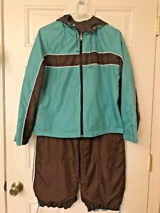 Athletic Running Tracksuit Athleisure Suit Brown Aqua 2 Piece Petite Medium XL