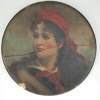 Beautiful Antique Dated 1880 Hand Painted Oil on Clay? Victorian Woman - Needs R