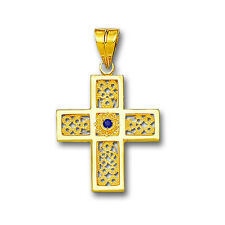 Pendant with Gemstone - A 18K Solid Gold Filigree Latin Cross