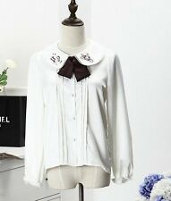 1pc Lolita Girls Embroidery Blouse White Peter Pan Collar Shirt Long Sleeve Tops