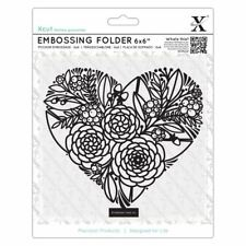 "Xcut 6 x 6"" Scrapbook Craft Embossing Folder - Floral Heart (152x152mm)"