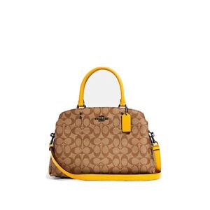 NWT AUTHENTIC COACH LILLIE CARRYALL IN SIGNATURE CANVAS WITH YELLOW TRIM