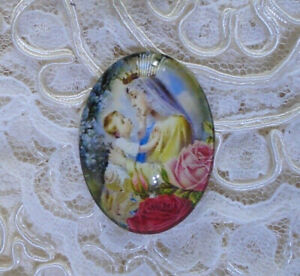 Madonna & Child 30X40mm Glitter Unset Handmade Glass Art Bubble Cameo