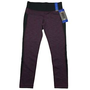 KIRKLAND Activewear Pants Size L Purple Black Yoga Workout Jogging Gym Leggings
